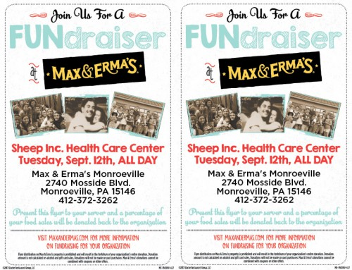 Max & Erma's Fundraiser September 12th